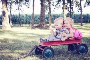 Boy and Girl on Wagon - Pixabay