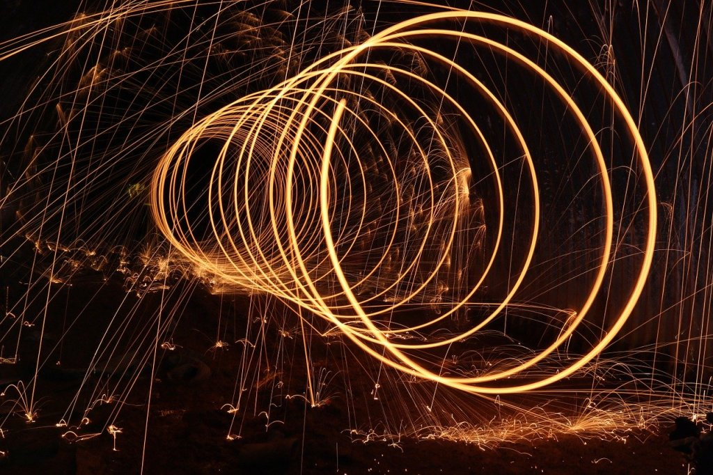 Repeated flaming steel wool circles